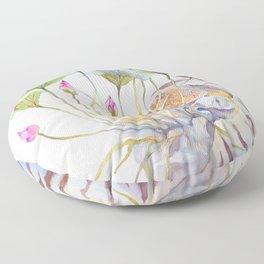 Nautilus and Lotus Surreal Watercolor Creature Floor Pillow