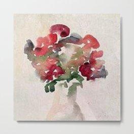 Red Flower Watercolor Metal Print