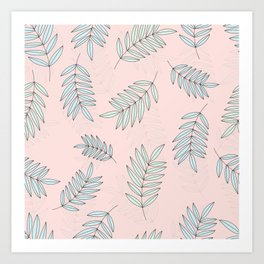 Good Vibrations / Pink Green Leaves Pattern Art Print