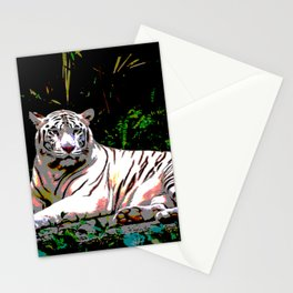 White Tiger In Jungle Beautiful Animal Art Big Cats Stationery Cards