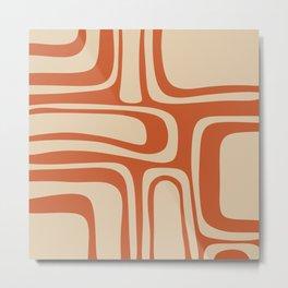 Palm Springs - Midcentury Modern Retro Pattern in Mid Mod Beige and Burnt Orange Metal Print