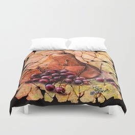 Pear and Grapes Fresco Duvet Cover