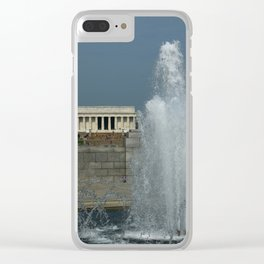 Memorial Fountain  And Lincoln Memorial Clear iPhone Case