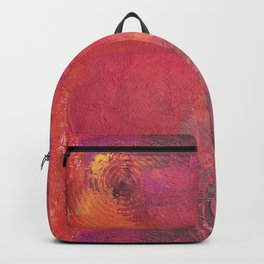 Original Textured Painting Orange and Red Backpack