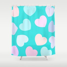 vibrant pastel hearts Shower Curtain