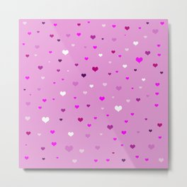 Numerous hearts of different shades of pink Metal Print