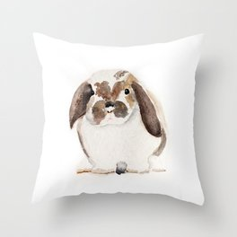 Bunny Watercolor (Flop Eared Bunny) Throw Pillow