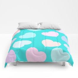 vibrant pastel hearts Comforters