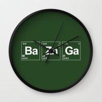 breaking Wall Clocks featuring Breaking Bazinga by dutyfreak