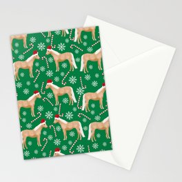 Palomino Horse Christmas - peppermint, candy cane, snowflake, christmas, green and red, santa Stationery Cards