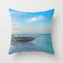 Boat on the Shoreline Artwork Throw Pillow