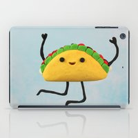 taco iPad Cases featuring Happy Taco by Cuddles and Rage