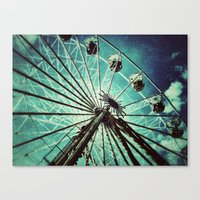 ferris wheel Canvas Prints featuring Ferris Wheel by Angela Bruno