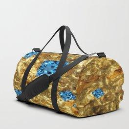 FACETED BLUE  TOPAZ GEMSTONES ON GOLD Duffle Bag