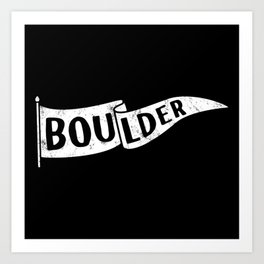 Boulder Colorado Pennant Flag B&W // University College Dorm Room Graphic Design Decor Black & White Art Print