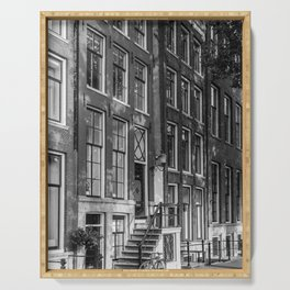 Canal houses in the city Amsterdam, Holland | Black and White | Minimal architecture travel photography Serving Tray