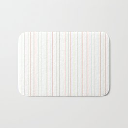 Modern geometrical pink coral green white stripes Bath Mat