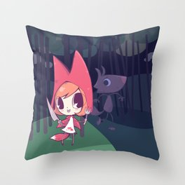 Red Riding Fox have big teeth Throw Pillow