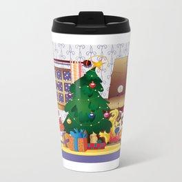 Merry Christmas Cat and Dog Metal Travel Mug