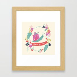 Mom I love you! Mommy and baby snail with floral Framed Art Print