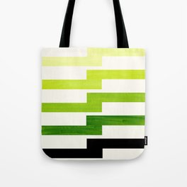 Minimalist Mid Century Modern Sap Green Watercolor Painting Lightning Bolt Zig Zag Pattern With Blac Tote Bag