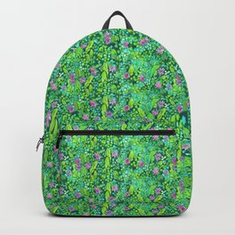Pink Clover Flowers on Green Field, Floral Pattern Backpack