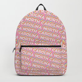 North Carolina, USA Trendy Rainbow Text Pattern (Pink) Backpack