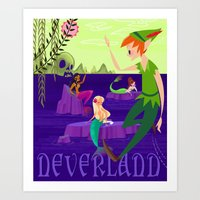 neverland Art Prints featuring Neverland by Kathryn Hudson Illustrations