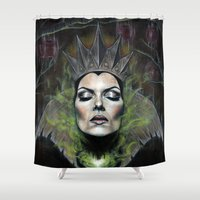 evil queen Shower Curtains featuring My Queen by Wendy Ortiz