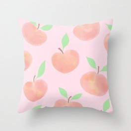 Pastel Pink and Orange Summer Peaches - Throw Pillow