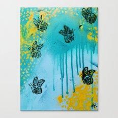 Teal Sky Tangerine Petals Canvas Print