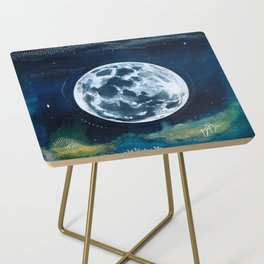 Full Moon Mixed Media Painting Side Table