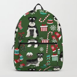 Black and silver schnauzer christmas print holiday xmas design Backpack