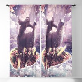Space Sloth Riding Llama Unicorn - Pizza & Taco Blackout Curtain
