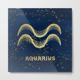 Aquarius Zodiac Sign Metal Print