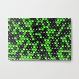 Pattern of black and green spheres Metal Print