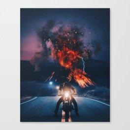 Biker appreciating eruption of volcano of fire by GEN Z Canvas Print