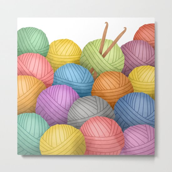 Two Crochet Hooks And A Lot Of Yarn Metal Print