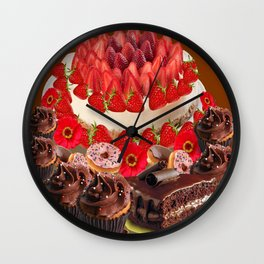 CAKE & STRAWBERRIES PINK FROSTED DONUTS BIRTHDAY Wall Clock