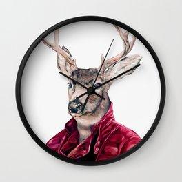 Deer In Leather Wall Clock