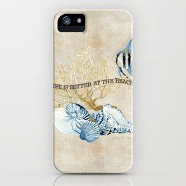 Indigo Ocean Sea Shells Angelfish Coral Watercolor Artwork iPhone Case