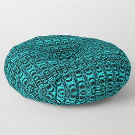 Abstract Pattern Dividers 07 in Turquoise Black Floor Pillow