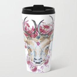 Watercolor Reindeer Metal Travel Mug