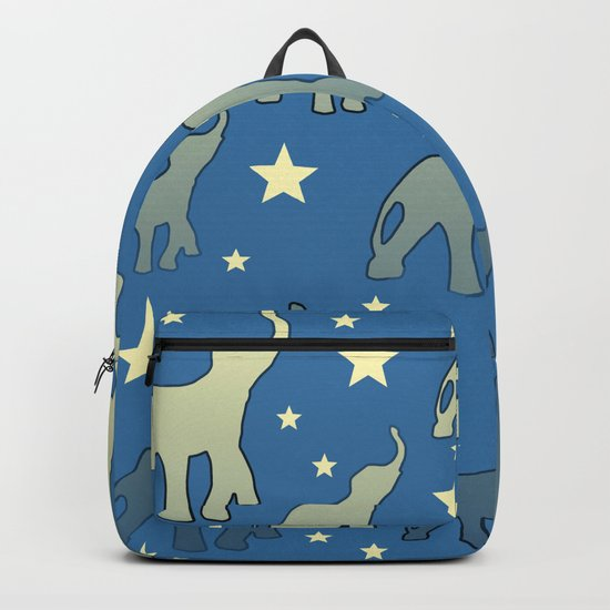 Blue Elephants Stars Pattern Backpack