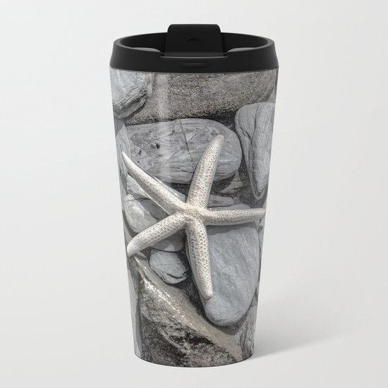 Starfish on Rocks monochrome beige Metal Travel Mug