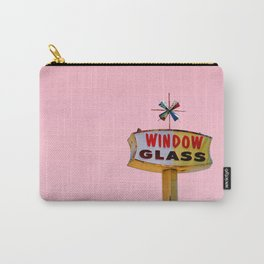 Atomic Pink Starburst - Vintage Googie-Style Sign with Pink Background Carry-All Pouch