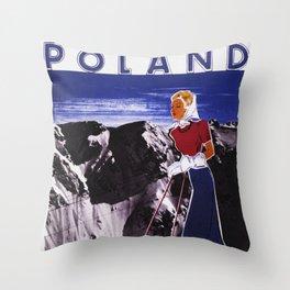 Poland for Winter Sports - Vintage Travel Throw Pillow