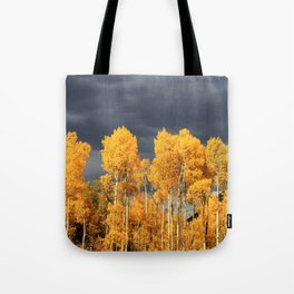Golden Aspens and an Impending Storm Tote Bag