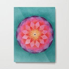 Watercolor Sacred Geometry Flower Mandala Metal Print