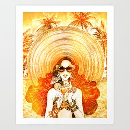 Summer Time_Straw Hat_Sun kissed Art Print